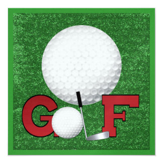 Golf - SRF 5.25x5.25 Square Paper Invitation Card