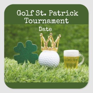 Golf St. Patrick's Day with golf ball and beer Square Sticker