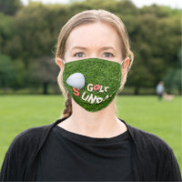 Golf Sunday with golf ball on green grass Cloth Face Mask