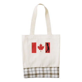 Golf Swing Canadian Flag Zazzle HEART Tote Bag