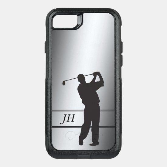 Golf Swing Monogram Silver OtterBox Commuter iPhone 8/7 Case