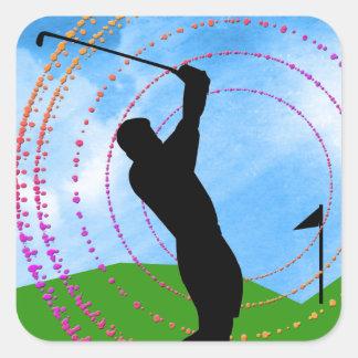 Golf Swing Square Sticker