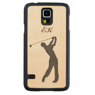 Golf Swinger Customizable Monogram Carved Maple Galaxy S5 Slim Case