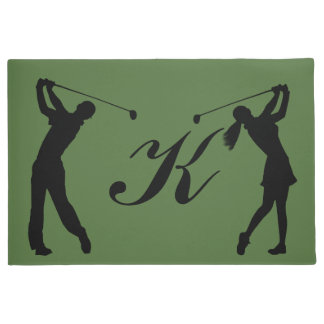 Golf Swinger Customizable Monogram Doormat