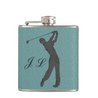 Golf Swinger Customizable Monogram Hip Flask