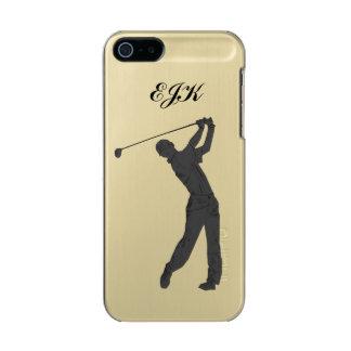 Golf Swinger Customizable Monogram Metallic Phone Case For iPhone SE/5/5s