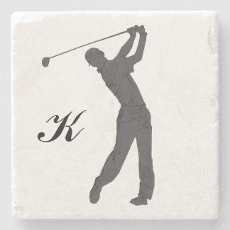 Golf Swinger Customizable Monogram Stone Coaster