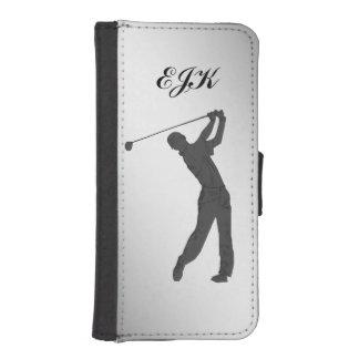 Golf Swinger Customizable Monogram Wallet Phone Case For iPhone SE/5/5s