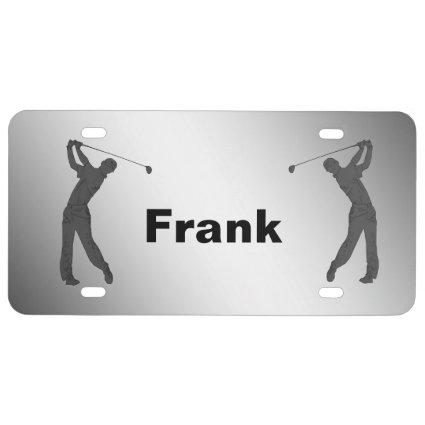 Golf Swinger Customizable Name License Plate