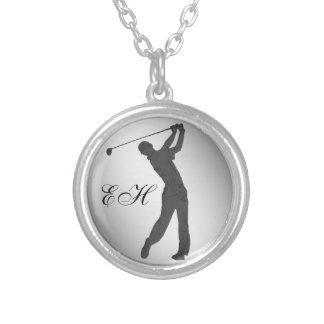 Golf Swinger Customizable Round Pendant Necklace
