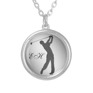 Golf Swinger Customizable Silver Plated Necklace