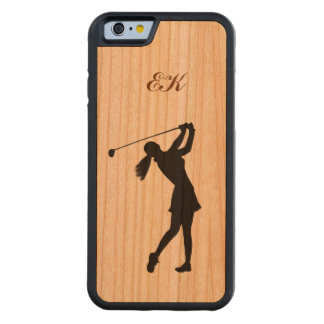Golf Swinger, Female,  Customizable Monogram Carved Cherry iPhone 6 Bumper Case