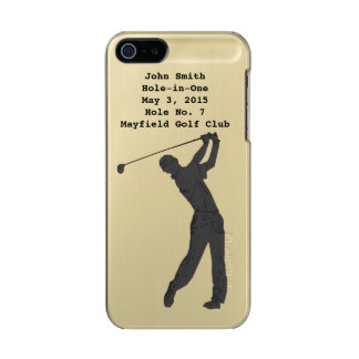 Golf Swinger, Hole-in-One, Customizable Text Metallic Phone Case For iPhone SE/5/5s