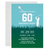 Golf Swinging 60th Birthday Party Invitation