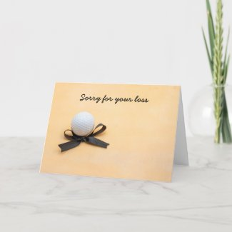 Golf sympathy sorry for your loss with black bow card