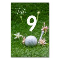 Golf Table number with golf ball and tee on green