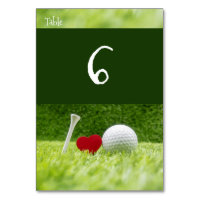 Golf table number with heart and tee on green
