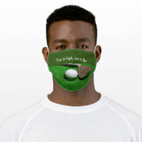 Golf tee it high let it fly golf ball and iron adult cloth face mask