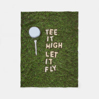 Golf tee it high let it fly on green grass fleece blanket