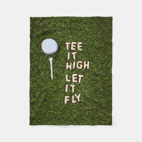 Golf tee it high let it fly on green grass fleece blanket