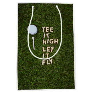 Golf tee it high let it fly on green grass medium gift bag