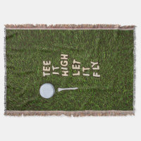 Golf tee it high let it fly on green grass throw blanket