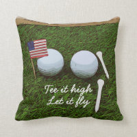 Golf Tee it high. Let it fly with flag of America Throw Pillow