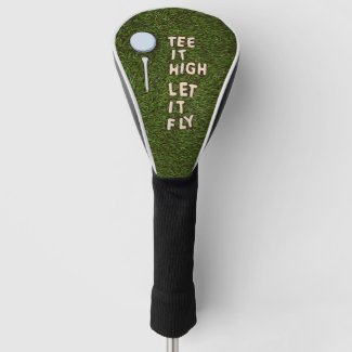 Golf Tee it high let it fly with golf ball and tee Golf Head Cover