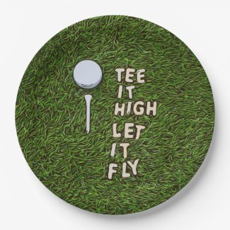 Golf Tee it high let it fly with golf ball and tee Paper Plate