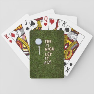 Golf Tee it high let it fly with golf ball and tee Playing Cards