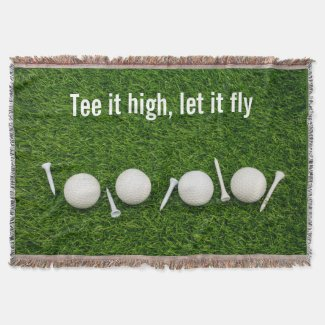 Golf Tee it high let it fly with golf ball and tee Throw Blanket