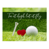 Golf TEE IT HIGH, LET IT FLY with love Postcard
