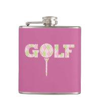 Golf tee logo argyle pink ladies plaid hip flask