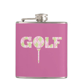 Golf tee logo argyle pink ladies plaid hip flask