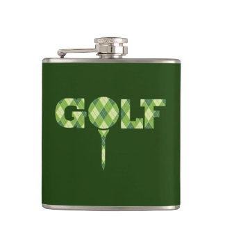 Golf tee logo argyle plaid hip flask