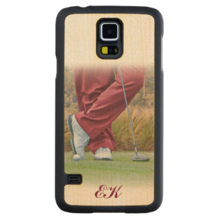 Golf Tee Time Customizable Monogram Carved Maple Galaxy S5 Case