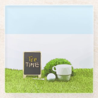 Golf Tee time with golf ball and cup of tea Glass Coaster