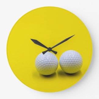 Golf tee time with golf balls on yellow background large clock