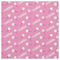 Golf tees girls name pink pattern fabric