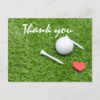 Golf thank you card  golf ball and tee with love