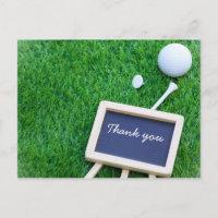 Golf thank you card on green grass