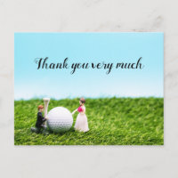 Golf thank you card wedding with bride and groom