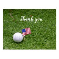 Golf Thank you card with flag of America on green