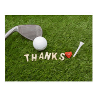 Golf thank you card with golf ball and hearts