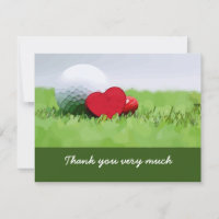 Golf Thank you card with golf ball and hearts love
