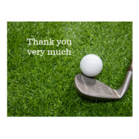 Golf Thank you card with golf ball and iron