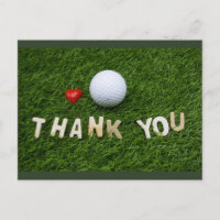 Golf Thank you card with golf ball and love shape