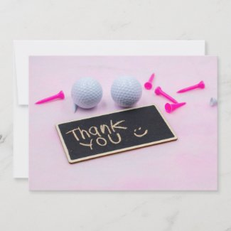 Golf thank you card with golf ball and pink tee