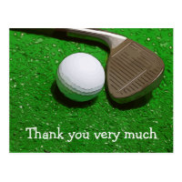 Golf Thank you card with golf ball and sand wedge