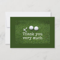 Golf  Thank you card with golf ball and tee